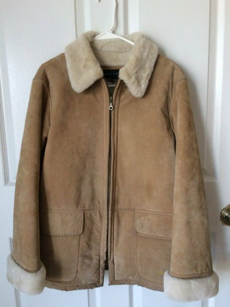 Gallery Womens Genuine Suede Coat Faux Sherpa Lined -6465