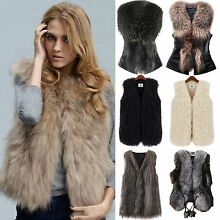 Women Faux Fur Vest Waistcoat Gilet Sleeveless Jacket Coat Outwear Short Slim US
