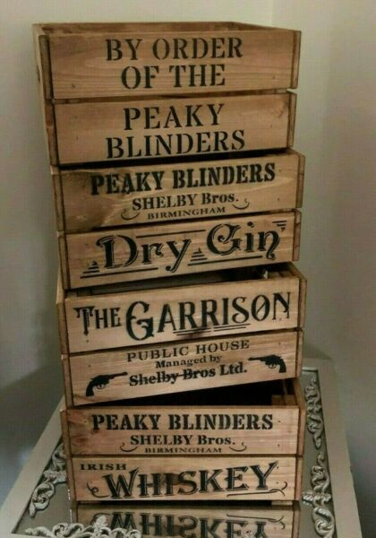 Peaky Blinders Wooden Crate Box Garrison Whiskey Gin By Order Storage Gift