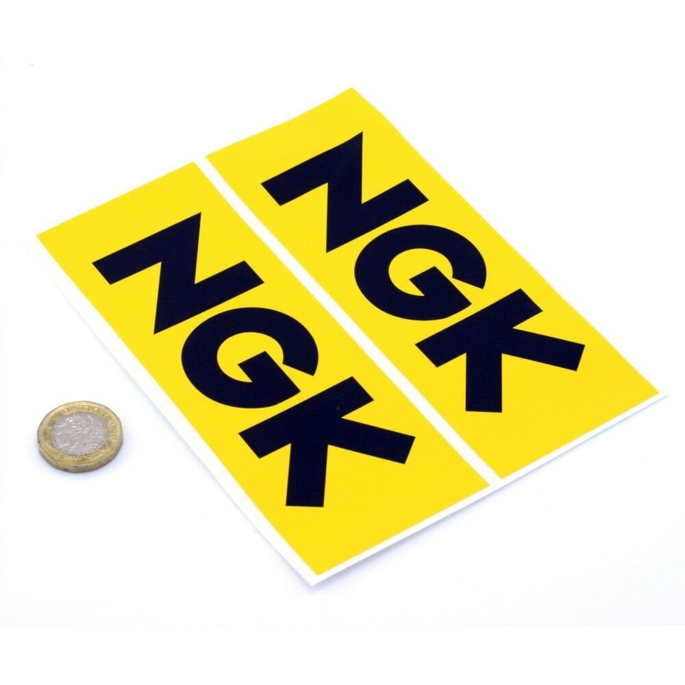 Details about ngk spark plugs stickers classic car racing decals vinyl 150mm x2 yellow
