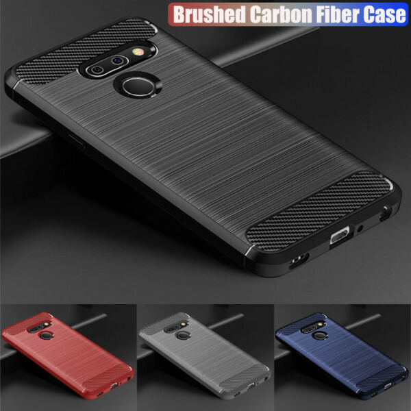 For LG G6 G7 G8 ThinQ Q7 Q8 Shockproof Silicone Rubber Fiber Texture Case Cover