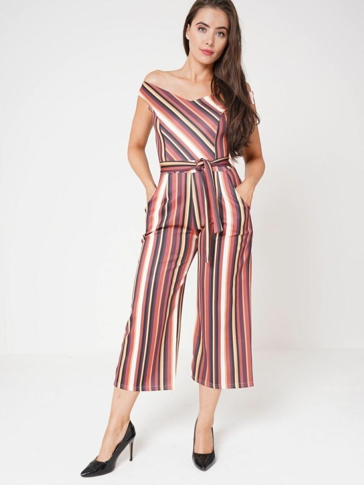 2fac582dbc18 Details about Ladies Multi Striped Culotte Off Shoulder Jumpsuit Tie Belt  Wide Leg Party