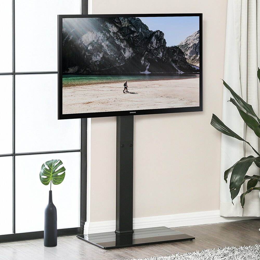 Tempered Glass Base Metal Tv Stand With Swivel Mount For 32 55 Inch