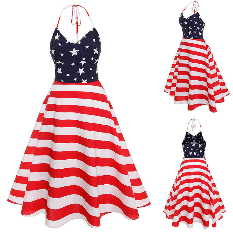 1dbb35f2efc Details about Women American Flag Stars and Stripes Sleeveless Casual  Summer Tank Dress