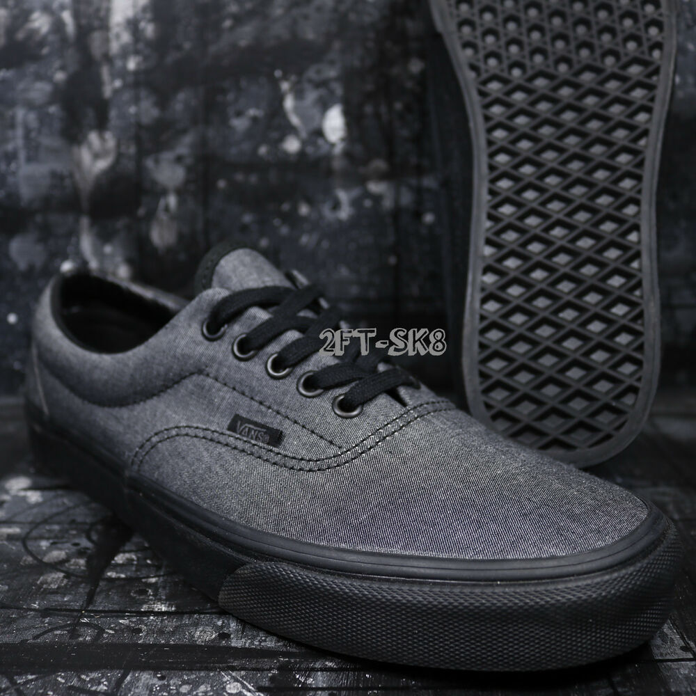 2757af7d92 Details about VANS ERA MONO CHAMBRAY BLACK BLACK MEN S SKATE SHOES    S85138.282