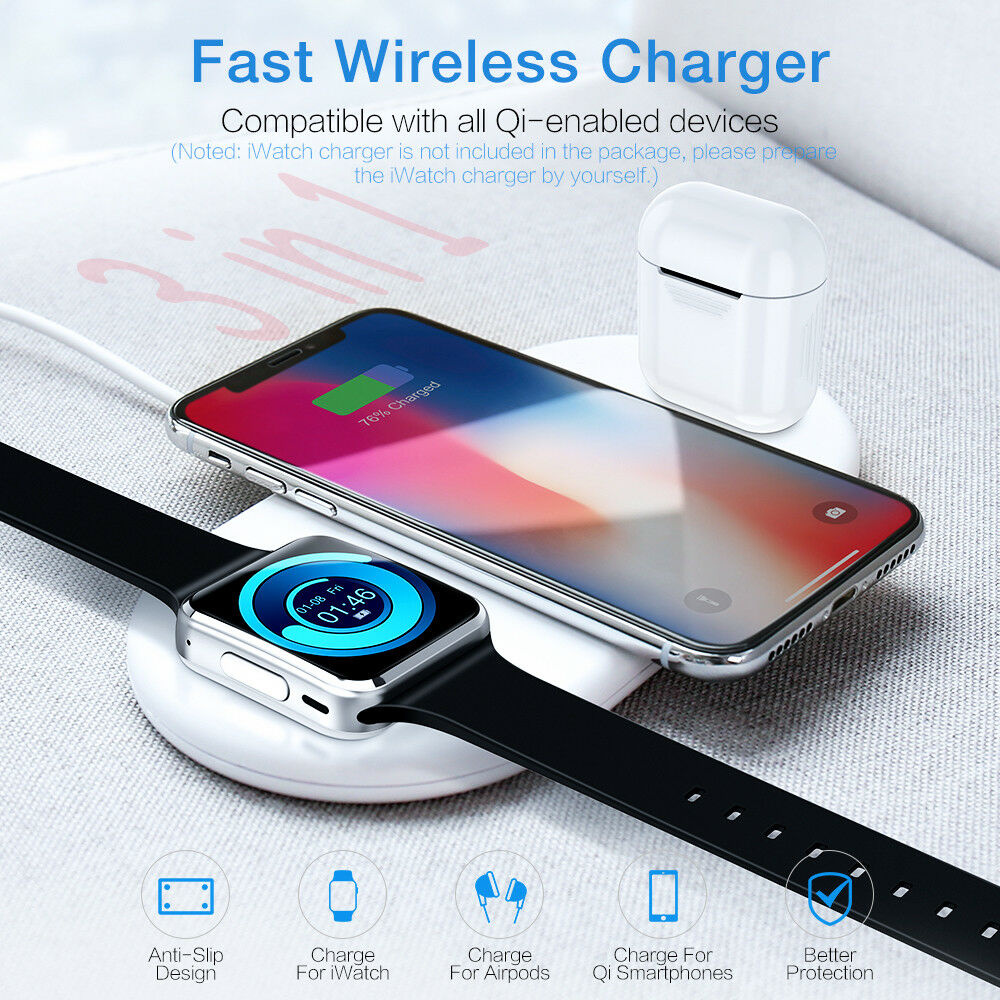 3 in 1 wireless charger stand for iphone apple watch dock airpods chargi station ebay. Black Bedroom Furniture Sets. Home Design Ideas