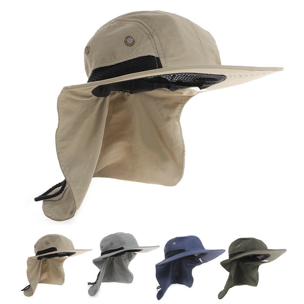 ecd79f453aa Details about Boonie Fishing Boating Hiking Snap Hat Brim Ear Neck Cover  Bucket Sun Flap Cap