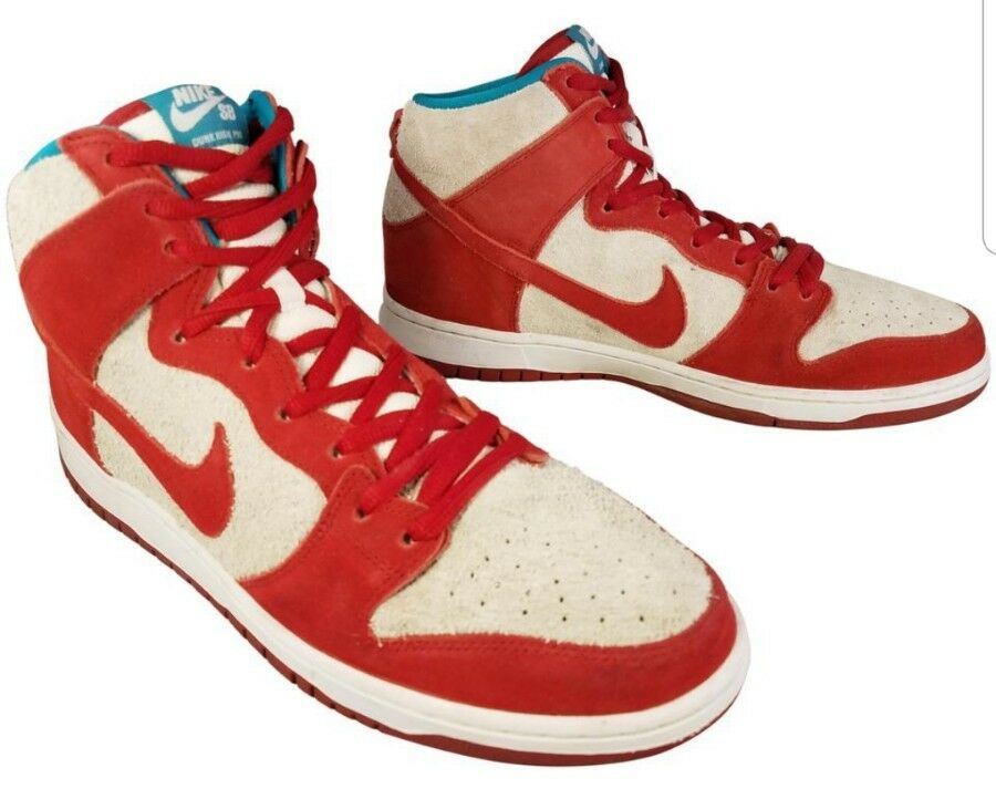 1821c44cd3 NIKE SB ZOOM AIR DUNK HIGH PHO 305050 RED OFF WHITE SUEDE SNEAKERS MAN SIZE  12