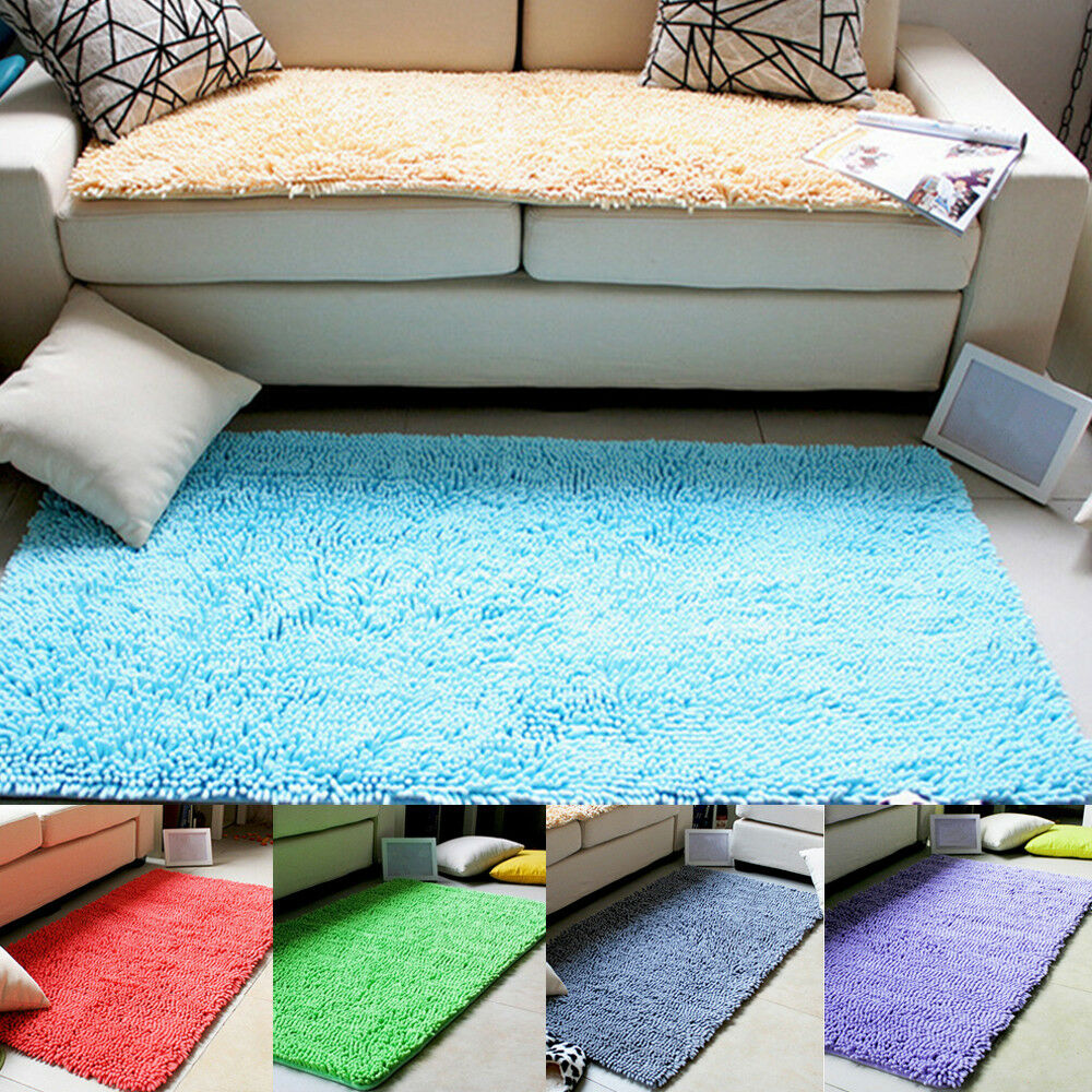 Washable Area Rugs Living Room: Absorbent Chenille Non-slip Area Rug Living Room Home