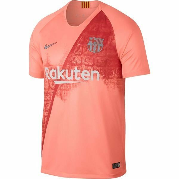 7a1b3edeed7b4 Details about Nike FC Barcelona Season 2018 - 2019 Third Soccer Jersey  Coral Pink Kids Youth