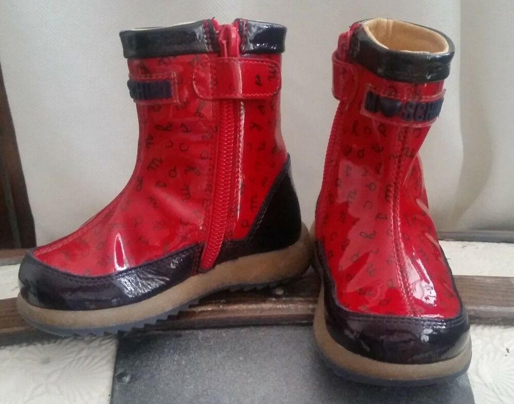 5573d072a6726 Details about NEW Moschino Italy Girls Red Patent Leather Ankle Boots  Booties 5US / 4UK / 20