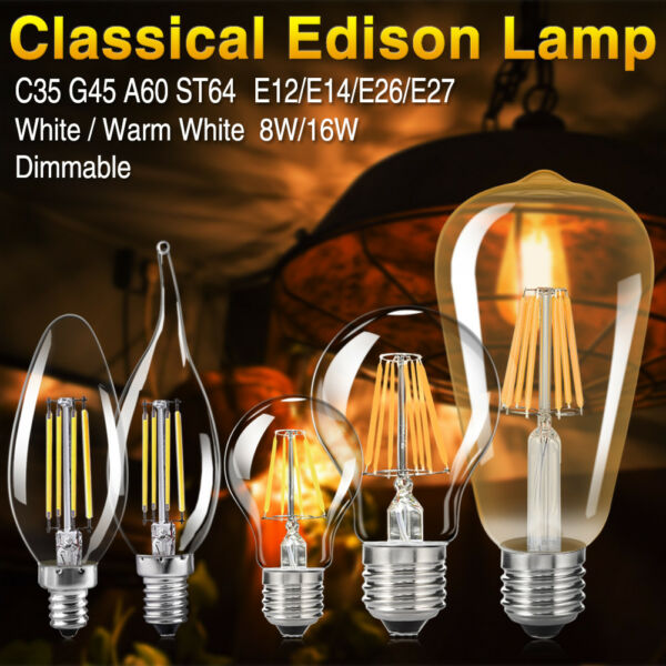 Dimmable E27 E14 8/16W Vintage Filament COB LED Bulb Flame 110V 220V Light Lamp