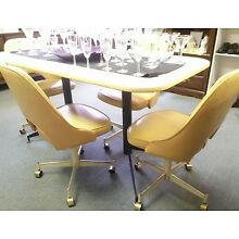 Vtg Mid Century Modern Dining Table & 4 Vinyl Chairs Dinette Set By STONEVILLE