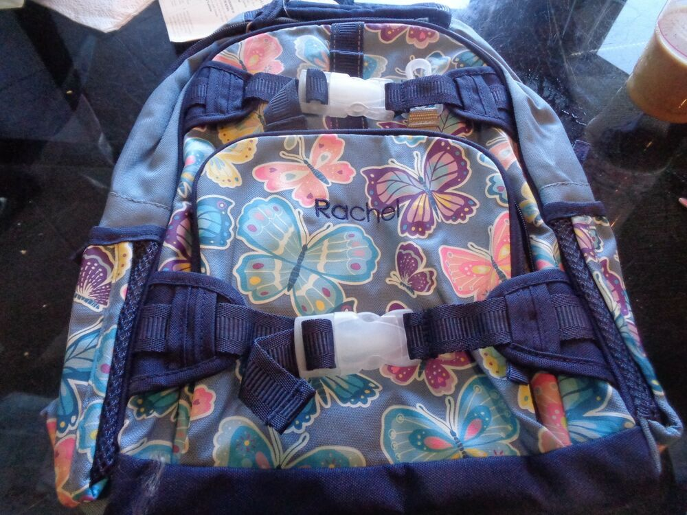 Details about Pottery Barn Kids Mackenzie small backpack butterfly indigo  monogrammed Rachel 48b95717f6e81