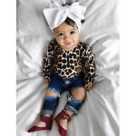 Kids Baby Girl Leopard Outfits Long Sleeve Tops+Ripped Denim Jeans Pants Clothes