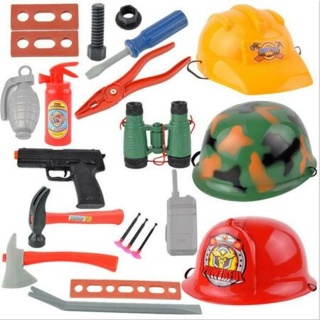 img-Piloce Firefighter Fire Engineer Rescue Helmet Hat Simulation Kid Toy UK