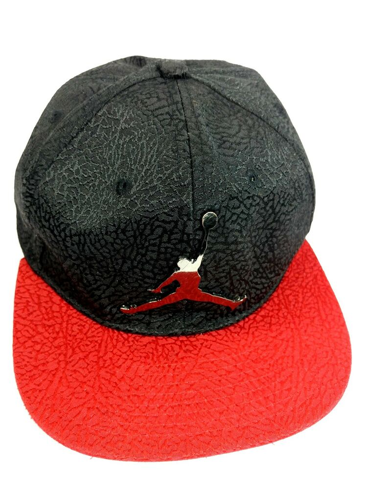 55a54148cd7 Details about Nike air Jordan JUMPMAN chrome black red textured youth  snapback hat