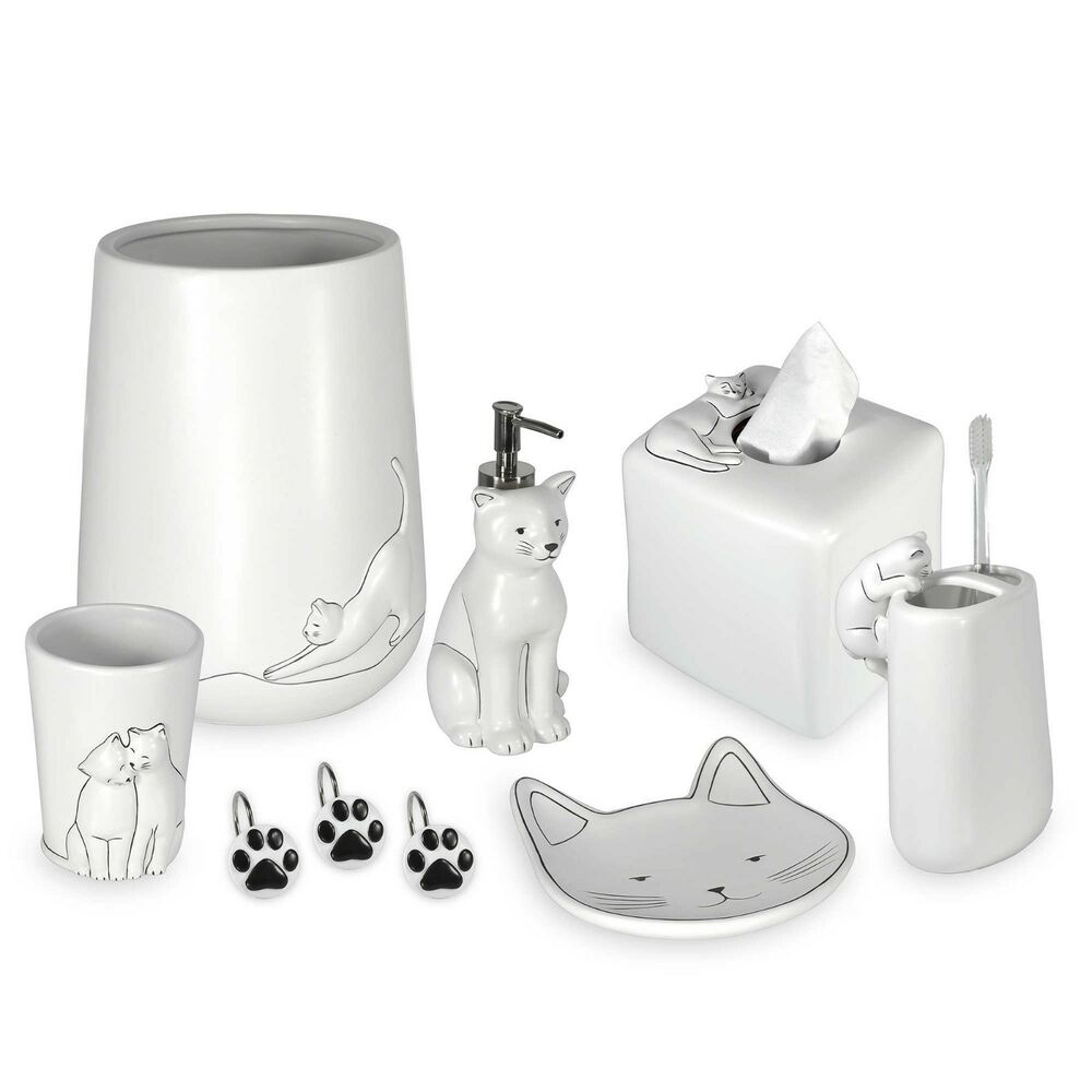 New Cat Themed Bath Ensemble Bathroom Accessories Collection By