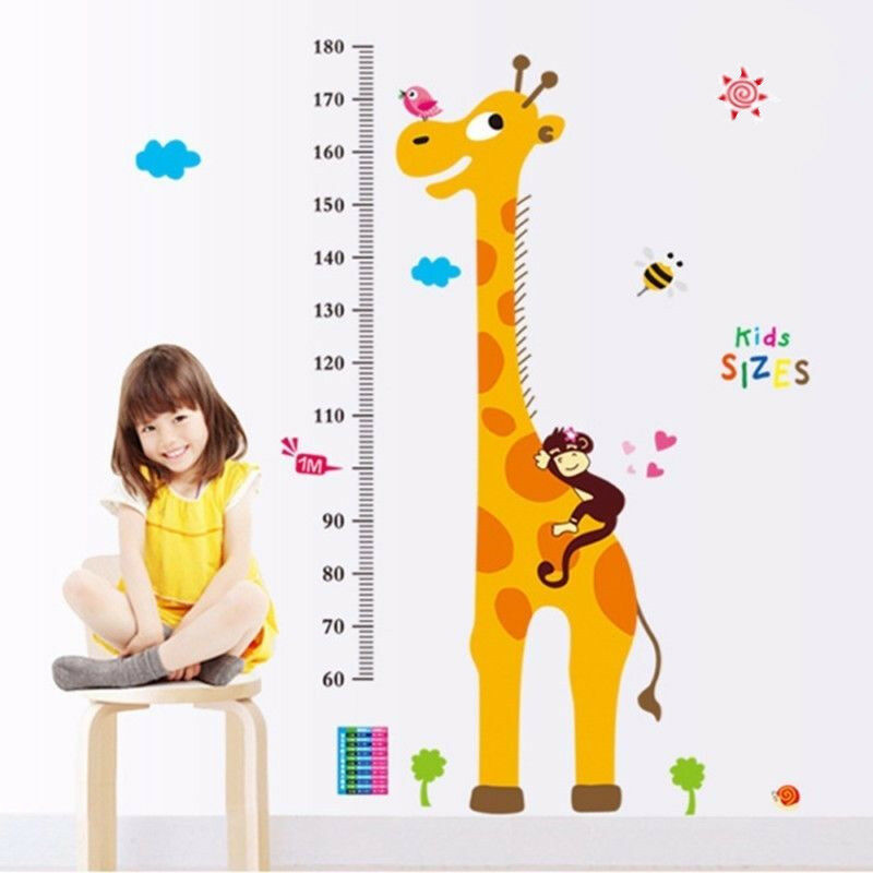 cute cartoon giraffe wall decal height chart wall sticker kids