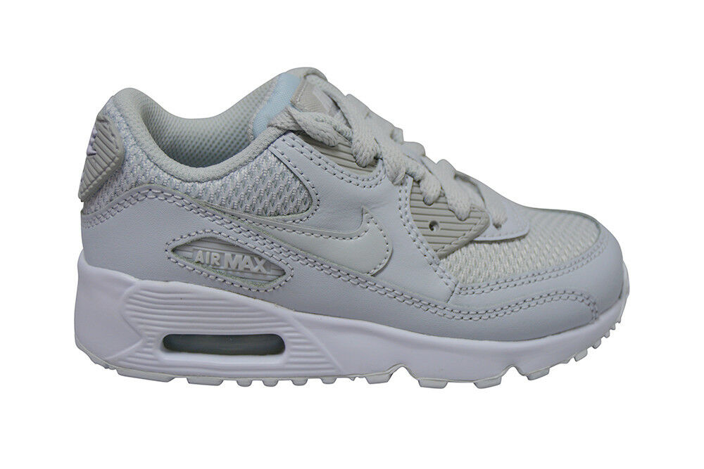 NEW Nike Air Max 90 Mesh Boys Kids PS Junior Running Trainers Shoes All White