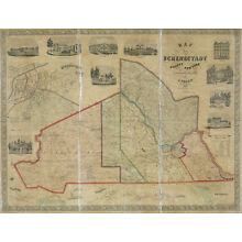 1856 Map of Schenectady County New York LARGE 40 x 52