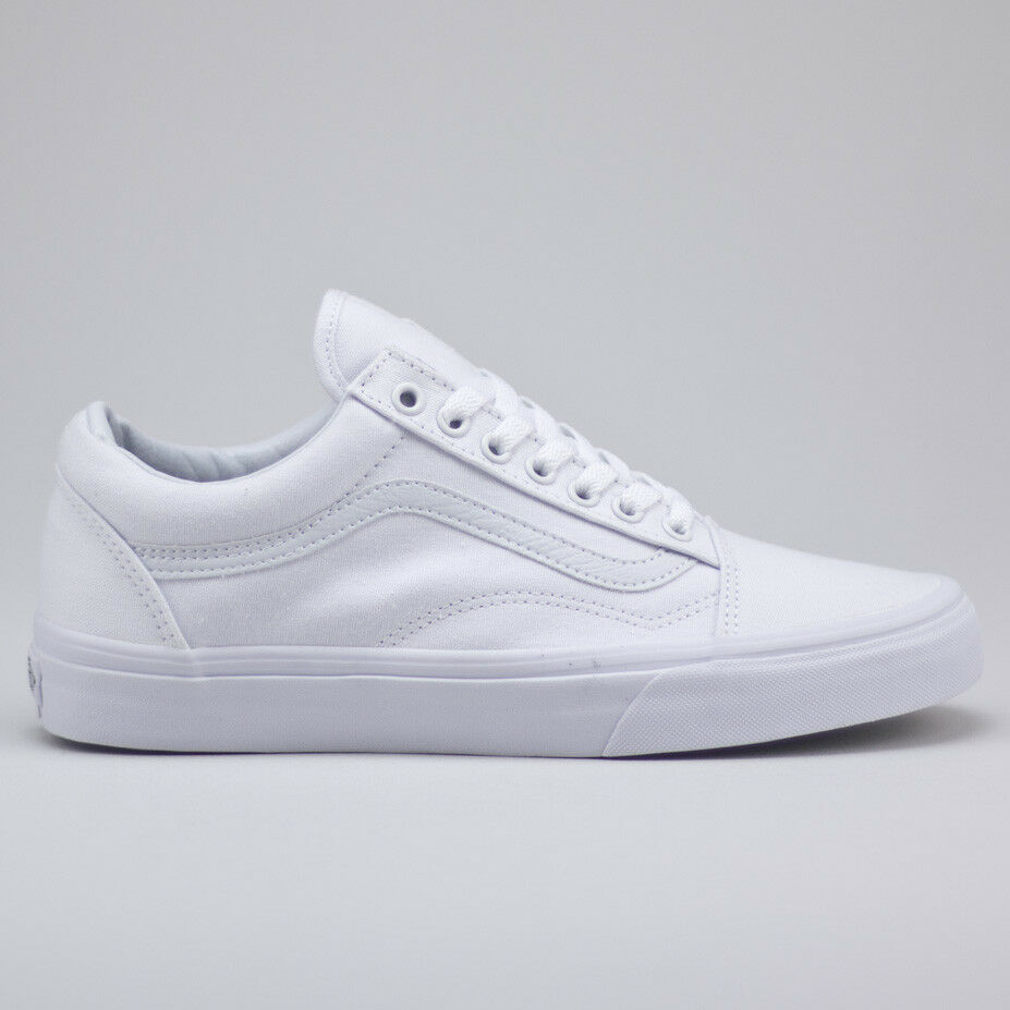 f8a8b6bfce6 Vans Old Skool Shoes – True White Canvas upper. Classic Vans silhouette.  Vulcanized sole construction