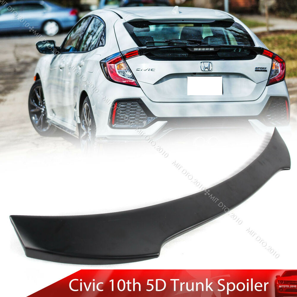 Car Rear Lip Spoiler For Honda Civic 2016 2017 2018 2019: Painted Black For Honda Civic 10th X Hatchback V Look Rear