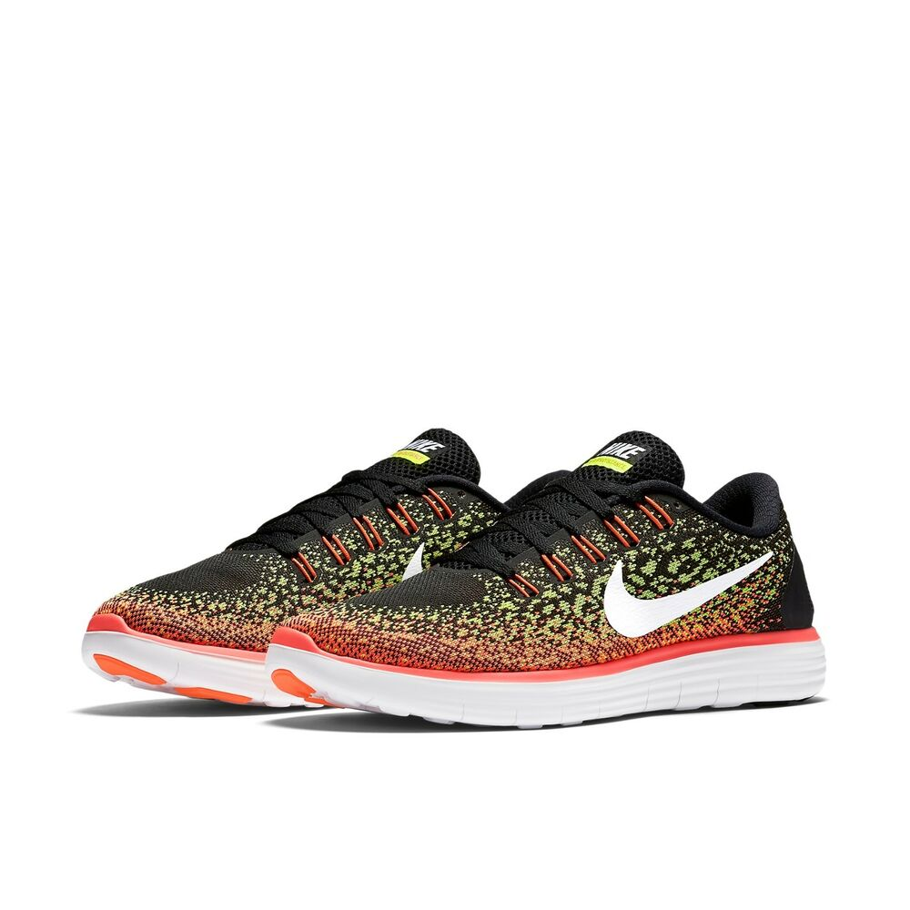 052afeb19e10 Details about Women s Nike Free RN Distance Running Shoes NEW Black   Volt    Hot Lava
