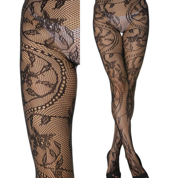 55e198cd641c9 Details about Floral Ivy Lace Chain Sheer Sexy Stockings Tights Detailed  Fishnet Pantyhose OS
