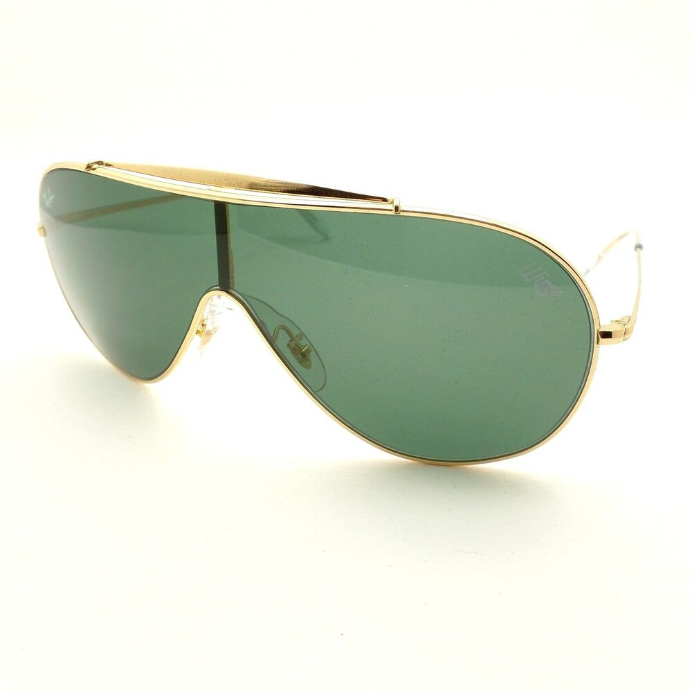 2df8e378e5e2 Details about Ray Ban 3597 9050/71 Gold Green Wings Shield Sunglasses New  Authentic