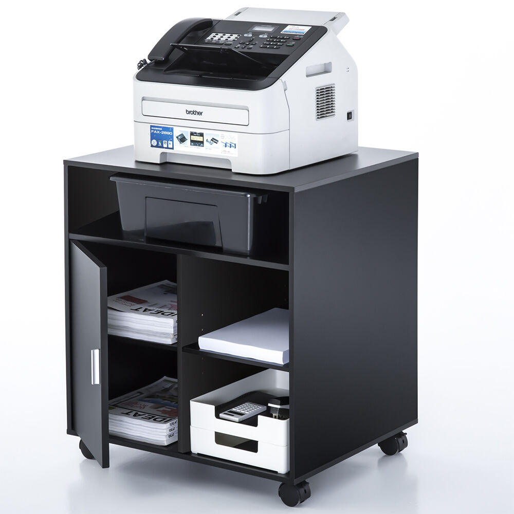 Fitueyes Black Wood Printer Cart Rolling Computer Stand ...