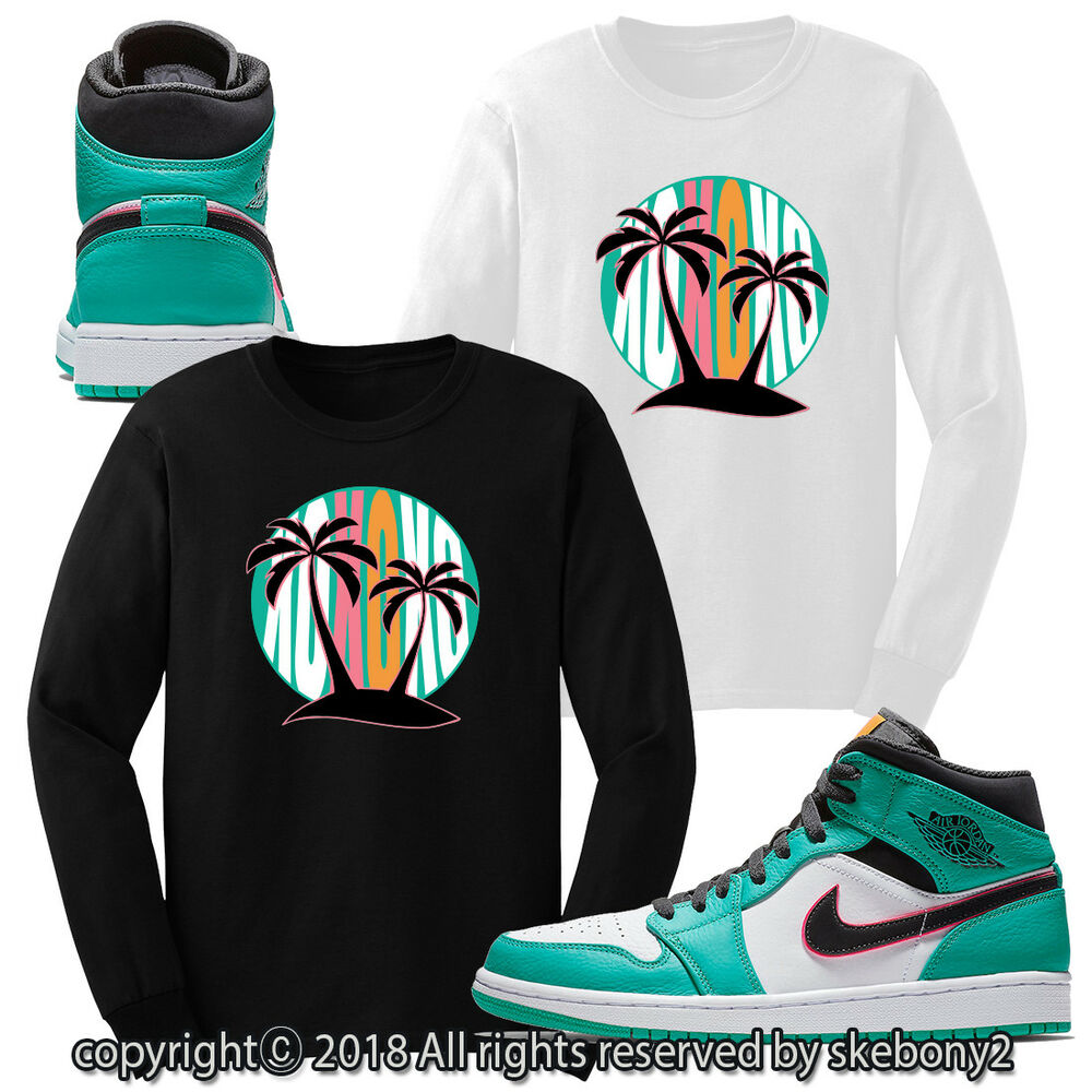 ea36024087e Details about CUSTOM T SHIRT MATCHING STYLE OF Air Jordan 1 Mid South Beach  JD 1-24-12-L