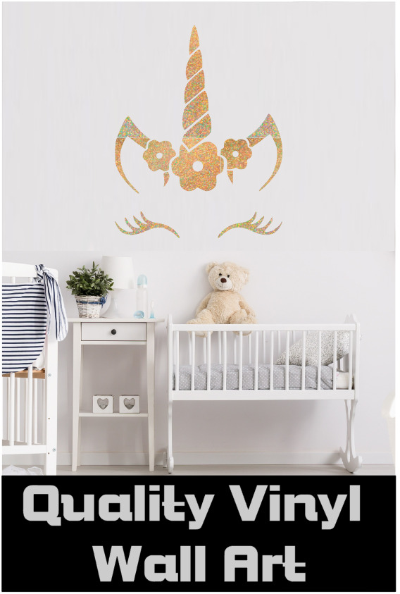 vinyl decal wall sticker unicorn face name door intense sparkles