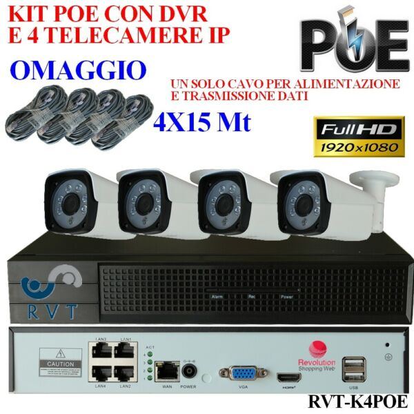 Kit NVR 4 Canali Full HD  con 4 Telecamere IP POE 2 mpx p2p Motion top Quallity
