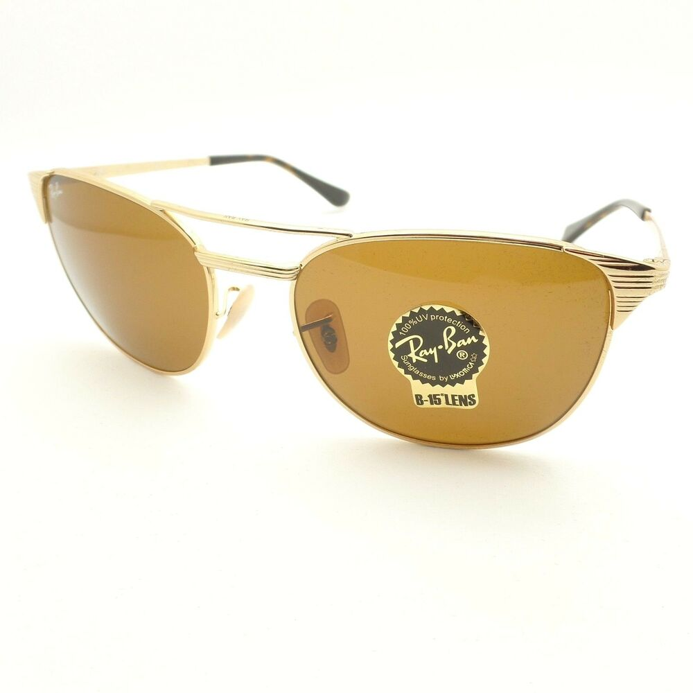 cb66f20e84 Details about Ray Ban Signet 3429 M 001 33 58 Gold Brown B15 Sunglasses New  Authentic r
