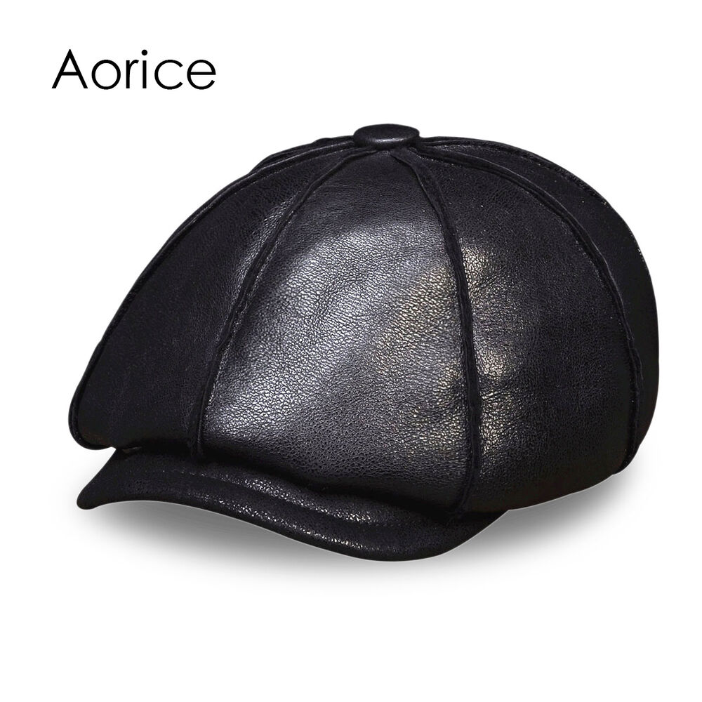5b59bfafb6a Details about mens winter real leather baseball cap hats ear flap beret  thick real fur jpg