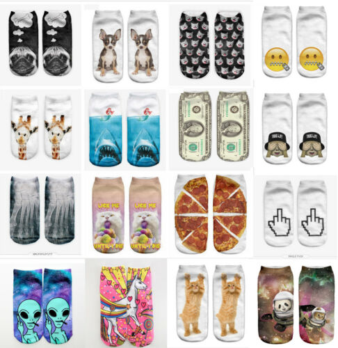 Fashion Christmas Cool 1 Pair Polyester Blend Women Unisex Ankle Socks Cute