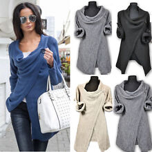 Women Knitted Jumper Sweater Cardigan Wrap Cowl Neck Shawl Tops Coat Winter US