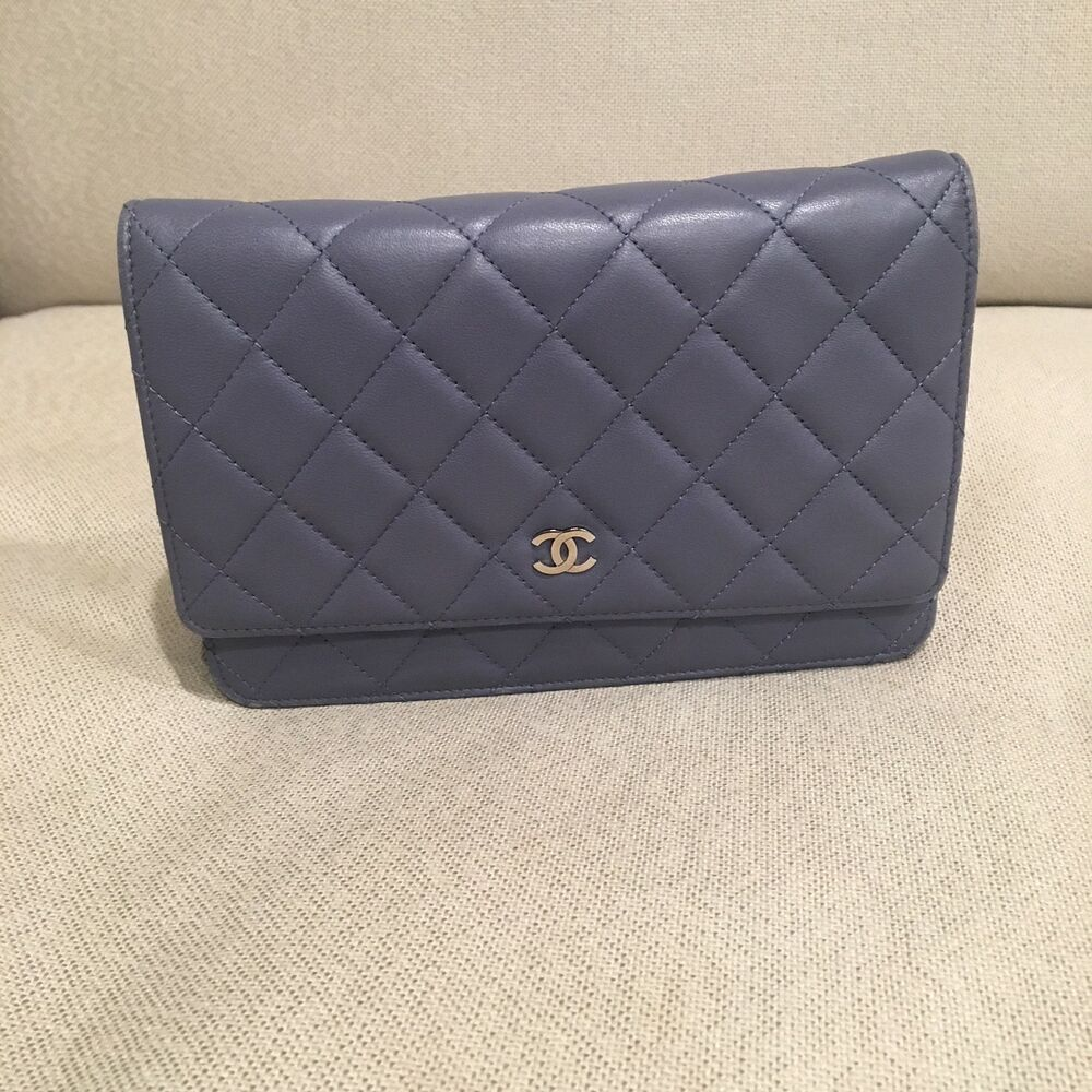 48fa0e7117ed Details about Chanel Light Blue Quilted Leather Classic Mini Double Flap Bag
