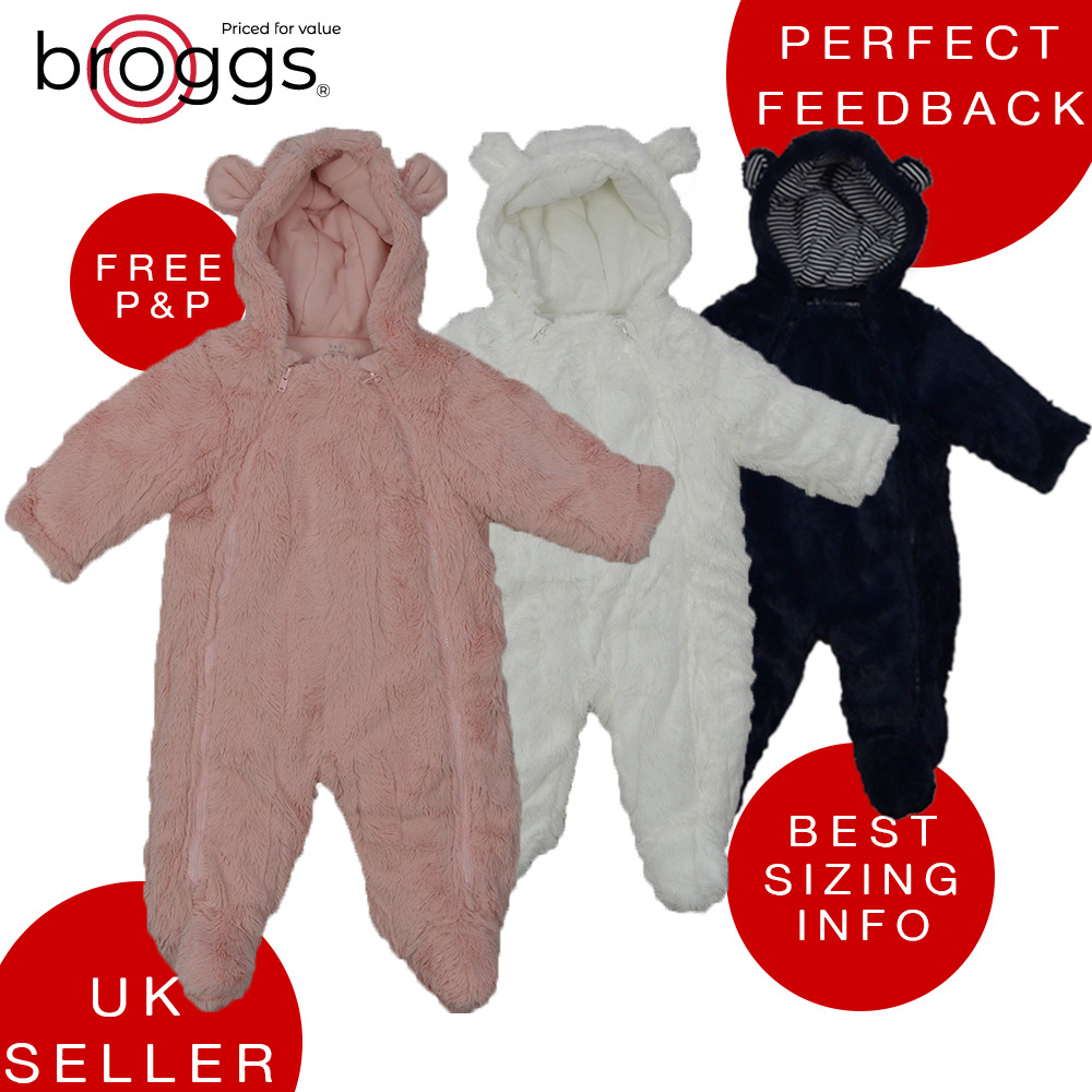 2969590da Baby Snowsuit Soft Faux Fur Hooded All In One Snow Suit Romper ...