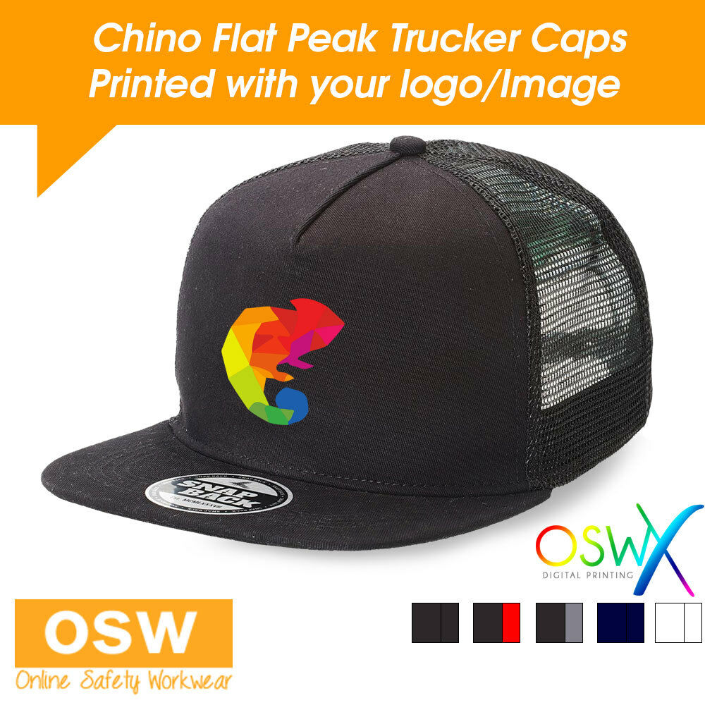 c3cf6ffbbf2 Details about 20 X CUSTOM PERSONALISED PRINTED SUPERIOR CHINO FLAT PEAK  SNAPBACK TRUCKER CAP