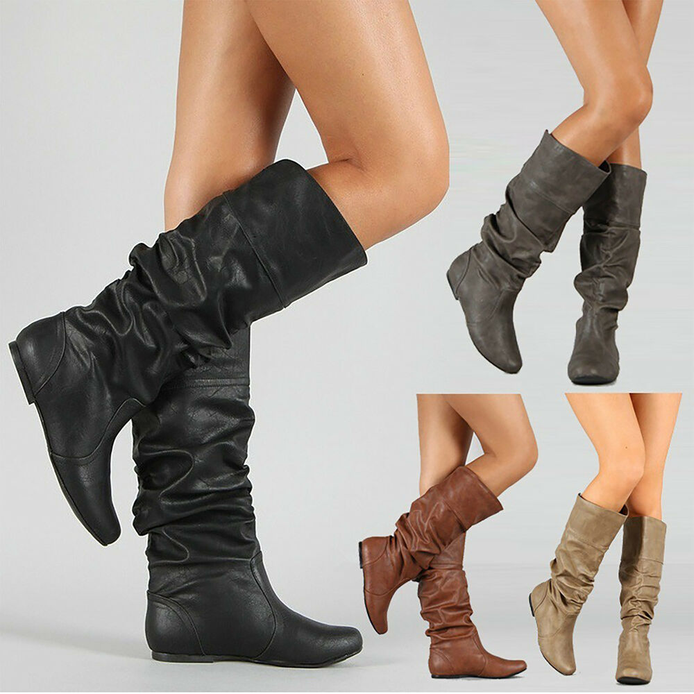 20b6a599b602 Details about Womens Slouch Mid-Calf Boots Ladies Flat Slip On Knee High  Boot Shoes Casual