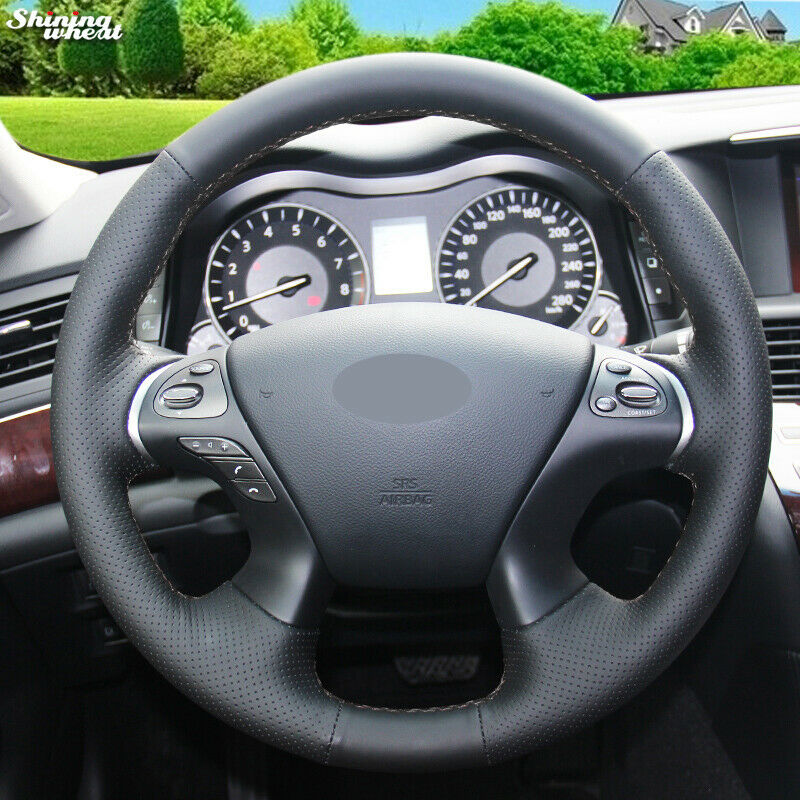 Details About Black Leather Steering Wheel Cover For Infiniti Jx35 Qx60 M56 Nissan Murano