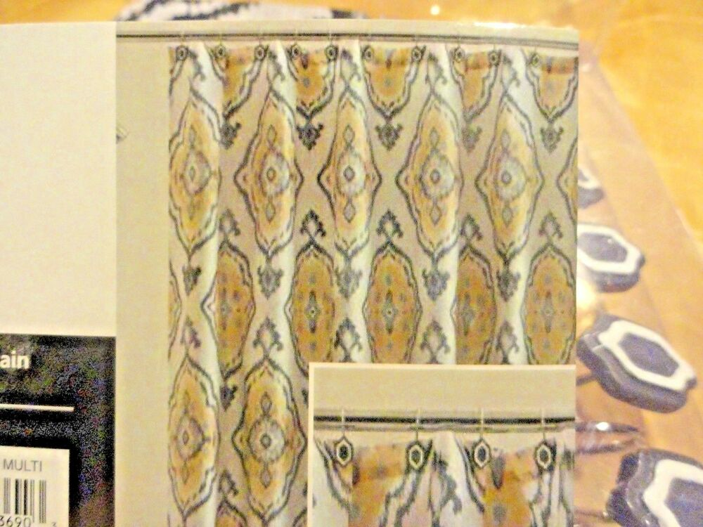 13 Pc Fabric SHOWER CURTAIN~Golden Yellow~Gray~Medallions