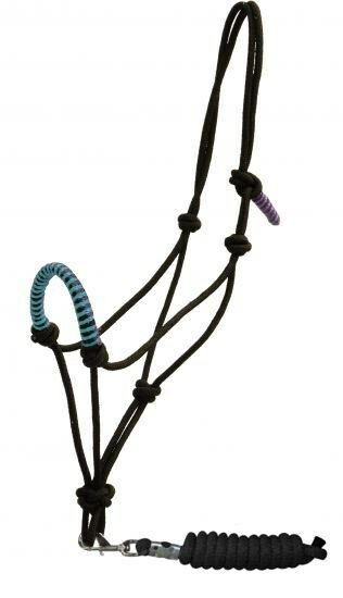 Showman Teal Braided Nylon Cowboy Knot Rope Halter W 7 Lead New
