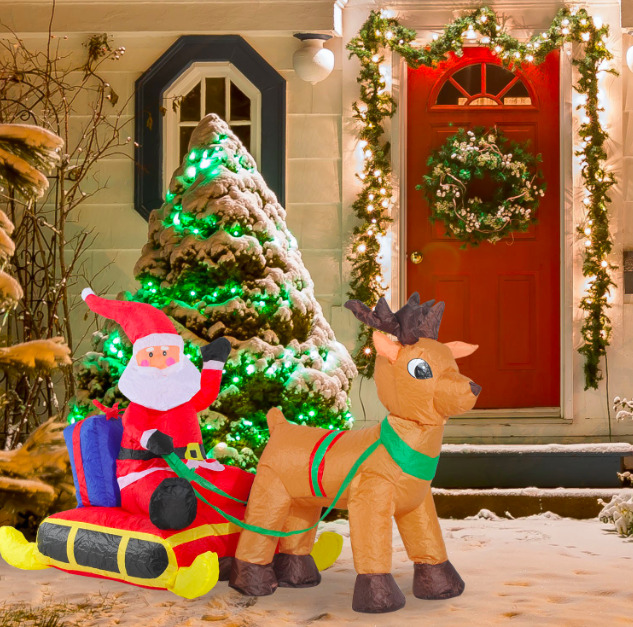 Details About Large Outdoor Inflatable Christmas Decorations Santa Sleigh Led Lights Fan