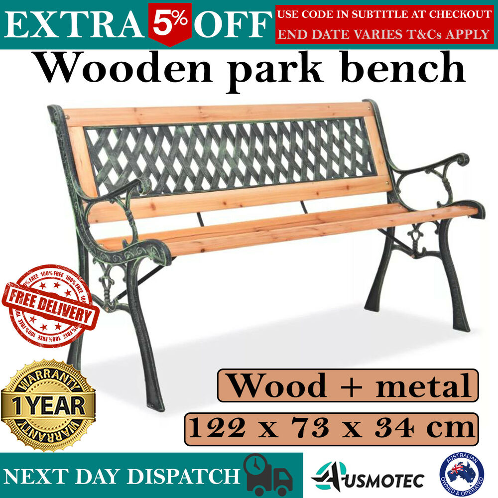 Wooden Park Bench Outdoor Garden Chair Metal Decor Patio Timber Seat