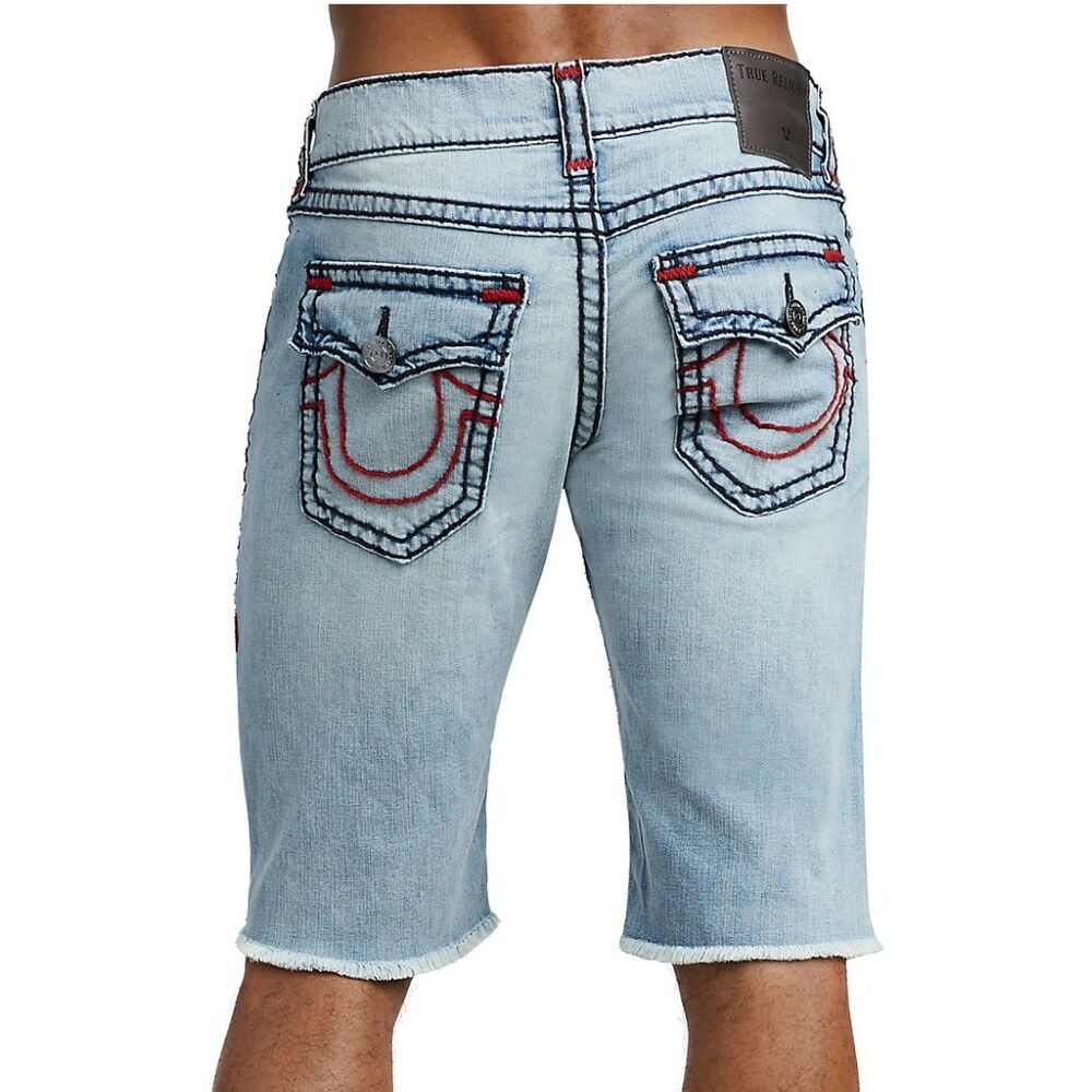 70cc98e44 Details about True Religion Men s Ricky Super T Denim Jean Shorts w  Flap  Pockets in Ethereal