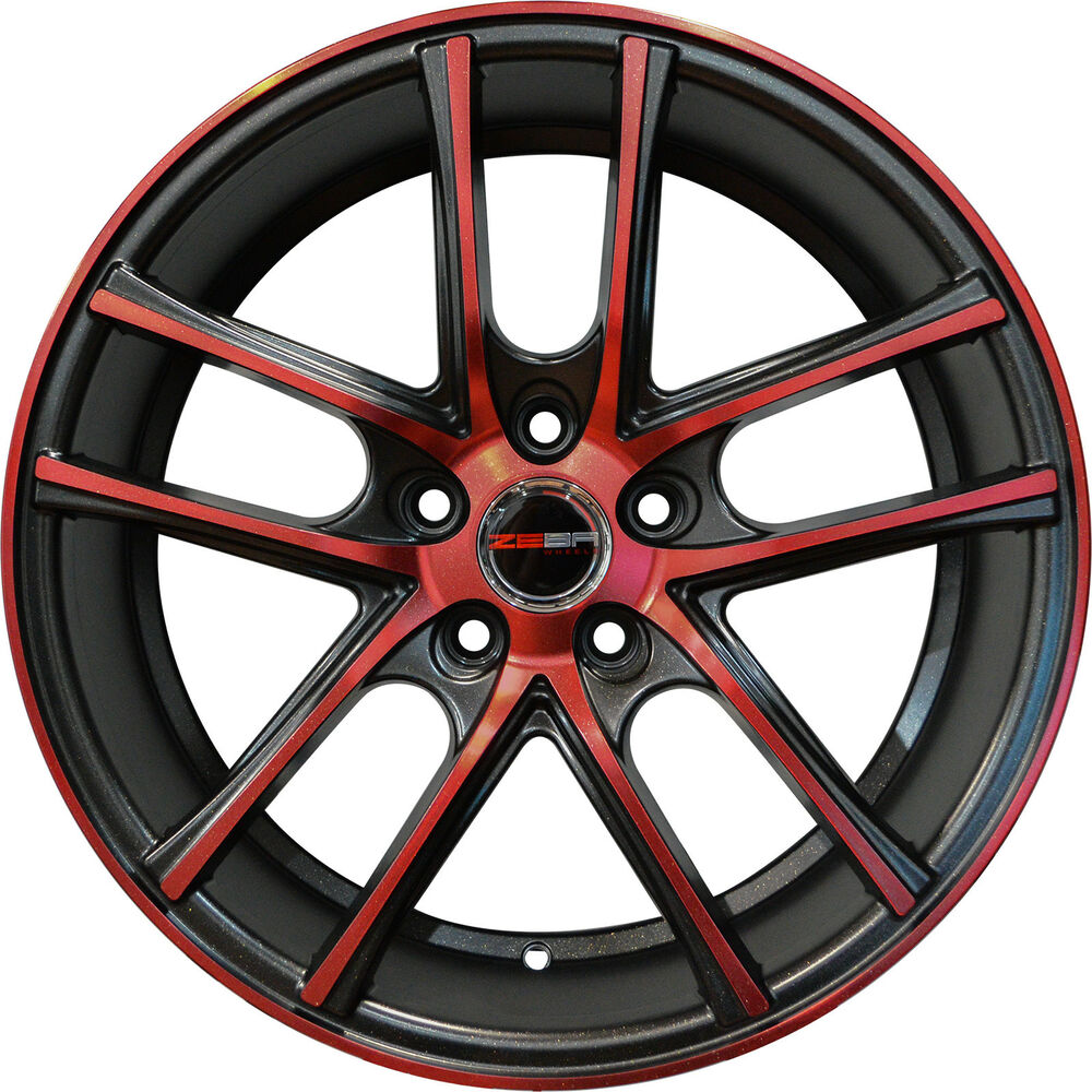 4 ZERO Wheels 18 Inch Black Crimson Red Rims Fits ACURA TL