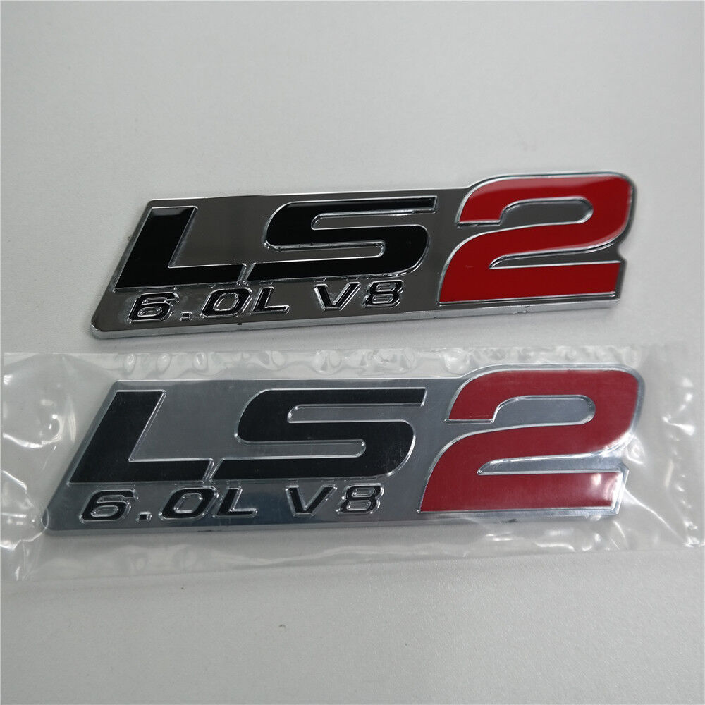 Details about 2 pc ls2 6 0l v8 red chrome fender emblem badge decal cts v gto